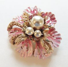 Coro Pink Flower Brooch/Pin Vintage 1950 Bridal Pin  Signed Coro, lovely shades of pink enamel surround three large simulated pearls accented by tiny gold tone leaves and clear glass rhinestones. It measures 2 in diameter and it is 1 high. Safety clasp closure. Circa 1950.