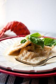 Lobster Ravioli with Garlic Cream Sauce