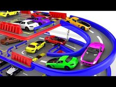 Colors for Children to Learn with Street Vehicles School Bus Toys #y |Colours water Sliders for Kids - YouTube