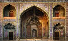 Beautiful mosque in Shiraz, Iran. It looks. Quite old.  Iranian mosques are beautifully tiled.