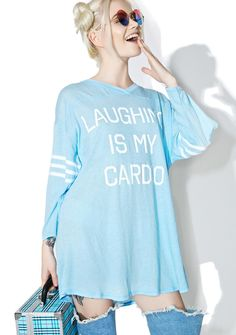 """Wildfox Couture Laughing Is My Cardio Jersey Tunic cuz running isn't really yer thing, bb. This top features a soft light blue construction, white stripes on the sleeves, and white """"Laughing Is My Cardio"""" text on the front."""