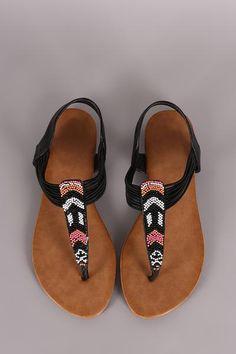 Beaded Chevron Strappy Thong Flat Sandal