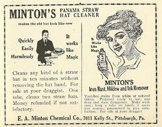 1921 ad: Minton's Panama Straw Hat Cleaner