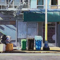 """Greg Gandy, """"3 Trash Cans"""" - 16x16, oil on panel--at Principle Gallery"""