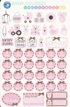 46 pregnancy stickers to track weekly countdown, OB or midwife appointments, ultrasound, baby shower, gender reveal, baby registry, and due