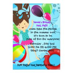 Symmer Pool Birthday Party balloons fun Card