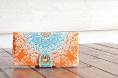 Handmade  Wallet - BiFold Wallet - Vegan Wallet / Aqua Lace in Tangerine -- PREORDER