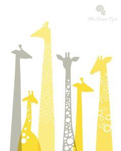 Giraffe silhouettes giclee print
