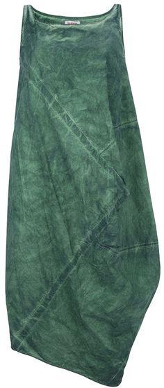 Hannoh asymmetrical dress. Green cotton dress from Hannoh featuring a square neckline, shoulder straps and an asymmetrical hemline.