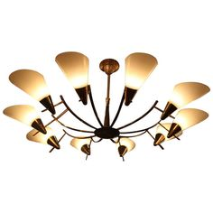 Ten Arm Art Deco Brass Chandelier | From a unique collection of antique and modern chandeliers and pendants  at http://www.1stdibs.com/furniture/lighting/chandeliers-pendant-lights/