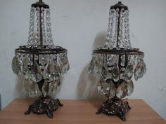 antique french basket style two swarowski crystal table lamp 1940s chandelier