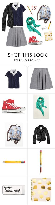 """""""Back to School"""" by odiolaspasas ❤ liked on Polyvore featuring Fall Winter Spring Summer, Converse, Free People, Abercrombie & Fitch, Paper Mate, Sugar Paper and CB2"""