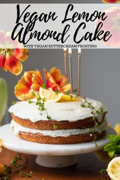 Moist, lemony, nutty, and light. Topped with a classic lemon buttercream frosting. Vegan Baking Recipes, Healthy Vegan Desserts, Vegan Dessert Recipes, Vegan Treats, Almond Recipes, Vegetarian Sweets, Cake Recipes, Vegan Buttercream Frosting, Icing