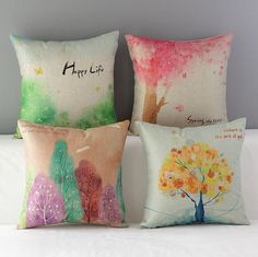 High Quality 4 pcs a set Colored trees Cotton Linen Home Accesorries soft Comfortable Pillow Cover Cushion Cover 45cmx45cm