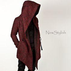 NewStylish Mens Fashion Tops Jacket Outwear Diabolic Hood Cape Coat (Black/Red)