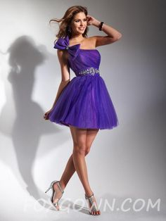 short+one+shoulder+prom+dresses | Grape One Shoulder Short Prom Dress with Big Bow on Strap