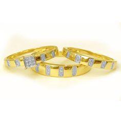 925 Sterling Silver White CZ His & Her Wedding/Engagement Bridal & Trio Ring Set #eightyjewels #EngagementWeddingAnniversaryBirthdayParty