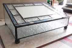 Leaded Glass Box Large Blue White Photo Box Vintage 032015RL by cutterstone on Etsy