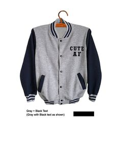 Cute AF Sweatshirt Varsity Jacket Baseball Pocket Tee Color blocked Sweater…