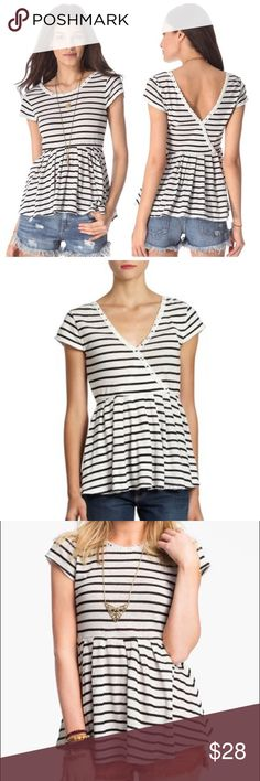 Free People Crazy Daisy Reversible Peplum Top Adorable Free People Crazy Daisy reversible peplum top.  Black and white striped pattern with a floral lace trim.  Bottom hem is unfinished. V-neck can be worn in front or back.  In excellent condition. Free People Tops