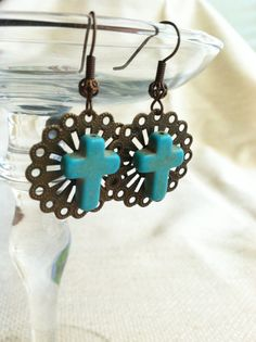 Turquoise Howlite Cross Earrings on Antiqued by DuctTapeAndDenim, $12.00