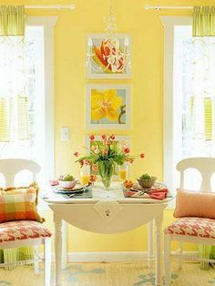 New yellow living room with red couch that will blow your mind