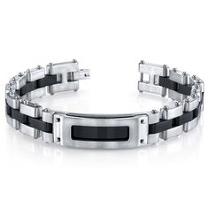 Peora.com - Riveted Industrial Black and Two Tone Stainless Steel Bracelet SB4240, $49.99 (http://www.peora.com/mens-riveted-industrial-black-and-two-tone-stainless-steel-bracelet-style-sb4240/)