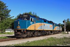 VIA 2 pulls into Washago for a station stop before continuing on its way to Toronto, on a warm June day in 2013.