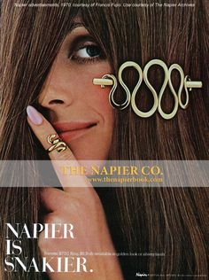 Napier is Snakier (Napier advertisements, 1970, courtesy of Francis Fujio. Use courtesy of The Napier Archives) #napier #vintagejewelry #serpentine