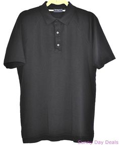 Bobby Jones Golf Polo Cotton Shirt Players Mens Short Sleeve Solid Black S  #BobbyJones #PoloRugby