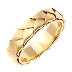 18K White or Yellow Gold Hand Braided Ring Band - 3 / Yellow