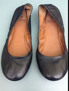 8a993aa98 Lucky Brand Blue Jeans AMERICA Black Leather Flats Size 36.5 M  fashion   clothing