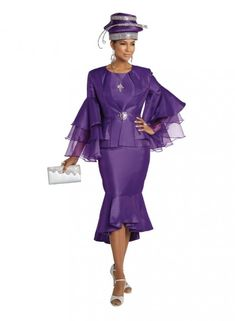 Style 11750 from Donna Vinci is a 3 piece silk look ladies' church suit consisting of a long bell sleeve 25 inch Jacket, Cami, and a flounced 35 inch Skirt with flounced hemline. The jacket is designed with Organza Sleeves and a Large Rhinestone Buckle. Women Church Suits, Suits For Women, Donna Vinci Church Suits, Slim Fit Skirts, Suits Season, Womens Dress Suits, Suit Fashion, Well Dressed, Gorgeous Women