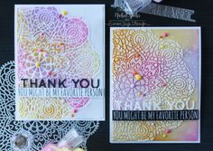 White Emboss Paste through SSS Circular Lace Stencil...over a Distress Inked background (the card on the right). Picked Raspberry, Spiced Marmalade, Squeezed Lemonade, and Wilted Violet Distress Inks were adhered to Bristol Smooth Cardstock using a Mini Ink Blending Tool, spritzed with water from a Distress Sprayer, and blotted dry with a paper towel.