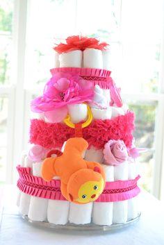 Diaper cake. Girl baby shower. Pink.