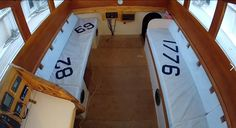Quba sailcloth cusion covers on the Greyhound lugger