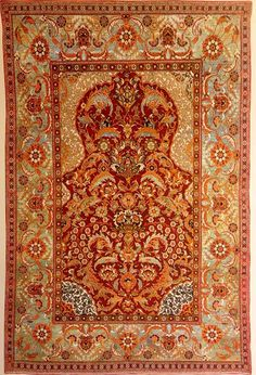 Fig. 200 - Ottoman Court carpet in the saz style. Istanbul or Bursa, Turkey, late 16th century. Wool and cotton pile on silk warps and wefts. Ottoman sultan Murad III ordered eleven weavers to move to Istanbul from Cairo. They brought with them two tons of dyed wool 1.81m x 1.27m or 6ft x 4ft 2in. One of the finest Ottoman Court carpets from Vienna, with a silk warp and weft and white and light blue cotton in the woollen pile. pg. 375
