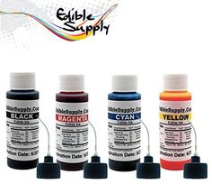 Edible Supply 2 oz BK/C/M/Y Edible Ink Refill Bottle Combo for All Epson Printer ** Check out the image by visiting the link.