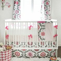Ragamuffin In Pink Crib Bedding Set