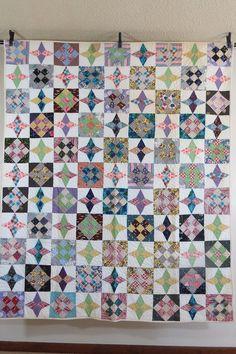 Vintage Antique Handmade Quilt 9 Block Variation with Stars Fresh Off The Farm | eBay