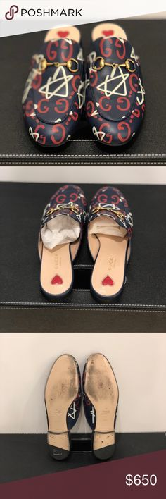 Gucci Slippers With Gucci Ghost Print Gucci red white and navy slides size 37.5  Worn twice Great condition  Loafers, comfortable Authentic Gucci Gucci Shoes Slippers