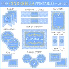 The free printable Cinderella party set includes gift tags, and a inch sign which can be used as a greeting card or invitation. Additional items can be added below. For Personal Use Only. Do not modify, change, redistribute or sell. Cinderella Invitations, Cinderella Theme, Cinderella Birthday, Princess Birthday, Cinderella 2016, Third Birthday, 4th Birthday Parties, Birthday Ideas, Cinderella Coloring Pages