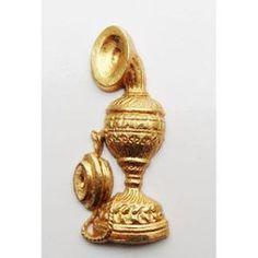 Téléphone vintage - Fève métal doré