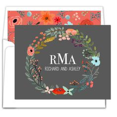Black Vine Wreath Foldover Note Cards