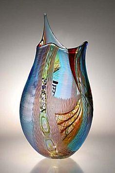 Approccio by Afro Celotto Broken Glass Art, Shattered Glass, Sea Glass Art, Stained Glass Art, Fused Glass, Glass Vase, Etched Glass, Glass Ceramic, Hand Blown Glass