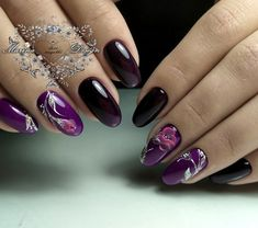 Nail Shapes - My Cool Nail Designs Purple Nail Art, Purple Nail Designs, Edge Nails, Beautiful Nail Designs, Cool Nail Designs, Pearl Nails, Nails Only, Flower Nail Art, Manicure E Pedicure