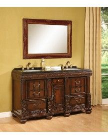 B I Direct Imports Bathroom Vanities Bradford Double Sink Ed Vanity With A Mahogany Cabinet Cream Marble Countertop White Porcelain