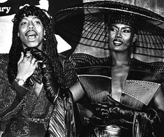 Rick James and Grace Jones backstage at the 1980 Grammy Awards in LA