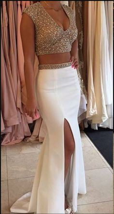 Glamorous Two Pieces Prom Dresses Beadings Cap Sleeve Long Party Gowns prom dresses