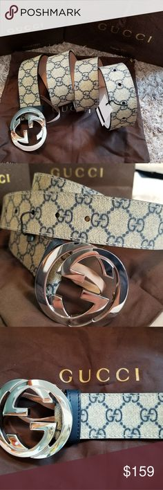💗Authentic Gucci Belt Blue & Tan Monogram Print 💗Authentic Gucci Belt Classic Blue & Tan Monogram Print with Silver GG Buckle. Hot! Comes with tags, box and dust bag. Fast Same Day Shipping. All reasonable offers considered. Gucci Accessories Belts